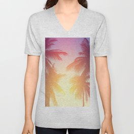 Coconut palm tree at tropical beach, colorful vintage tones Unisex V-Neck