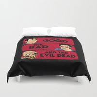 evil dead Duvet Covers featuring The good the bad and the evil dead by CarloJ1956