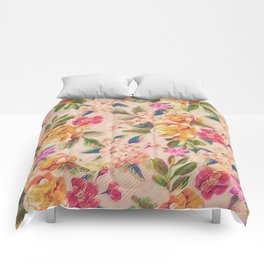 Golden Flitch (Digital Vintage Retro / Glitched Pastel Flowers - Floral design pattern) Comforters