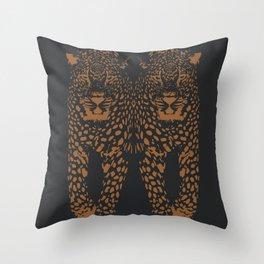 Midnight Leopard - Navy and Orange Leopard print By Kristen Baker Throw Pillow