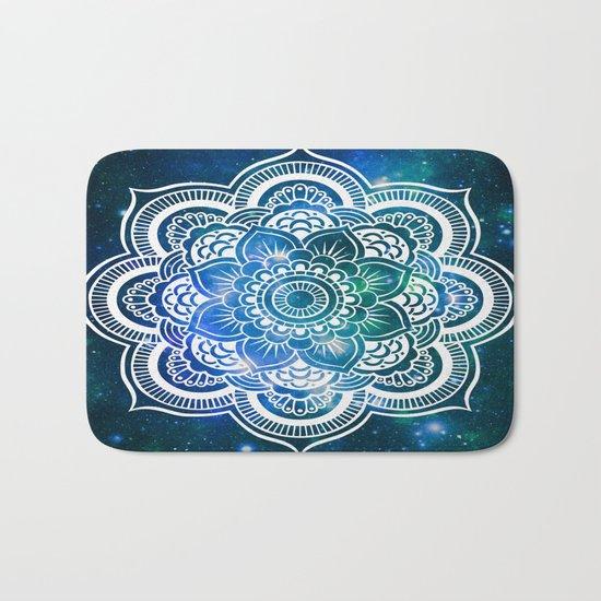 Mandala : Blue Green Galaxy Bath Mat