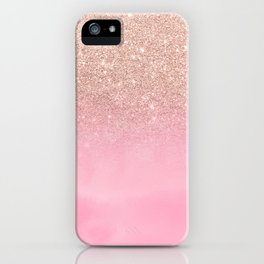 Modern rose gold glitter ombre hand painted pink watercolor iPhone Case