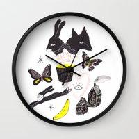 et Wall Clocks featuring Le Lièvre et le Renard by Esthera Preda