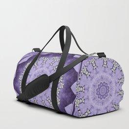 Silver flowers on deep purple textured mandala disc Duffle Bag