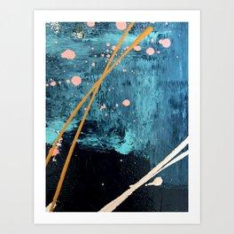 Poseidon: a bright, minimal abstract in blues, pink, orange, and white Kunstdrucke