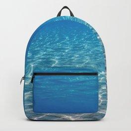 Underwater Blue Ocean, Sandy sea bottom Underwater background Backpack