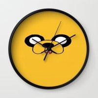 jake Wall Clocks featuring Jake by J Styles Designs