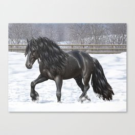 Friesian Horse Trotting In Snow Canvas Print