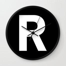 Letter R (White & Black) Wall Clock