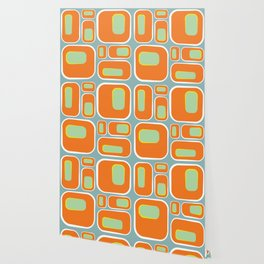 Mod Pod -Retro Turquoise Orange Wallpaper