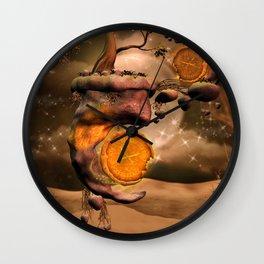 Fantasy world with flying rocks with clocks Wall Clock