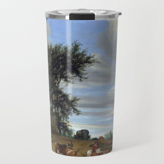 Salomon van Ruysdael A Country Road Travel Mug