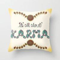 karma Throw Pillows featuring Karma by famenxt