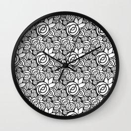 Black & White Rosettes Wall Clock
