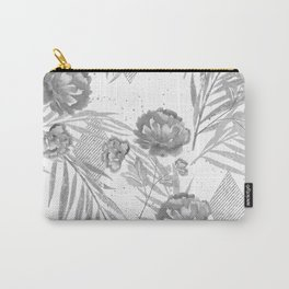 Gray flowers on a white background. Carry-All Pouch