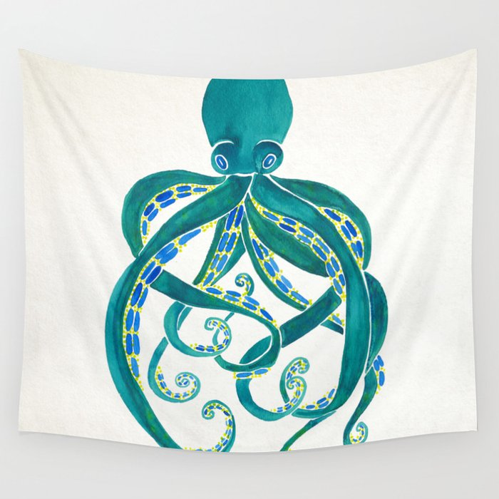 Octopus Watercolor Wall Tapestry