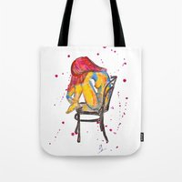 selena gomez Tote Bags featuring selena by Laurie Art Gallery