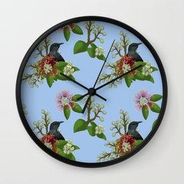 Tui in Pohutukawa Flowers Wall Clock