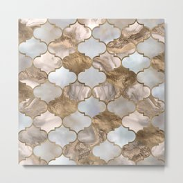 Moroccan trellis White marble and gold Metal Print