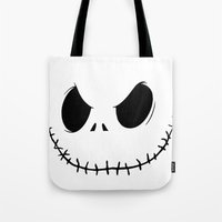 jack skellington Tote Bags featuring Skellington by Canis Picta