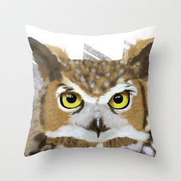 Great Horned Owl & Poly Thoughts Throw Pillow