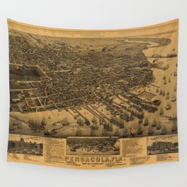 Aerial View of Pensacola, Florida (1885) Wall Tapestry