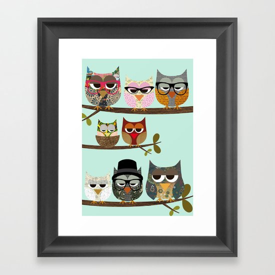Nerd Owls - Me and my friends collage poster print Framed Art Print