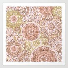 Rosey Gold Mandalas Art Print