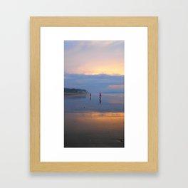 Couple on beach Framed Art Print