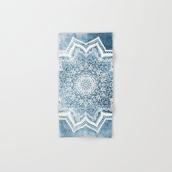 BLUEISH SEA FLOWER MANDALA Hand & Bath Towel