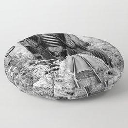 Railway Bridge Black and White Photographic Print Floor Pillow