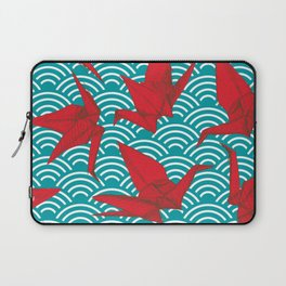 Origami red paper cranes sketch. burgundy maroon line Nature oriental Laptop Sleeve