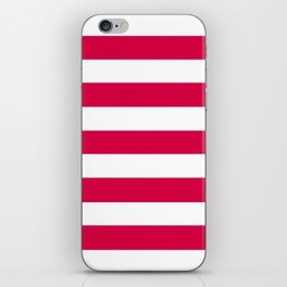 Rich carmine - solid color - white stripes pattern iPhone Skin