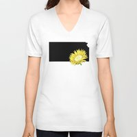 kansas V-neck T-shirts featuring Kansas Silhouette by Ursula Rodgers