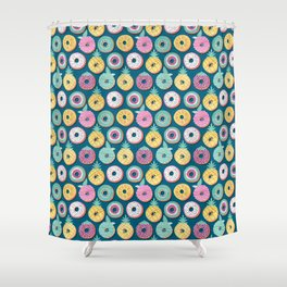 Undercover donuts // turquoise background pastel colors fruit donuts Shower Curtain