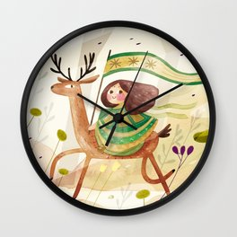 little girl and her deer on their journey Wall Clock