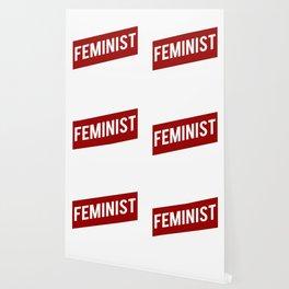 FEMINIST RED WHITE BANNER Wallpaper