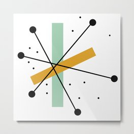 Retro Minimalist Mid Century Modern Pattern Design Metal Print