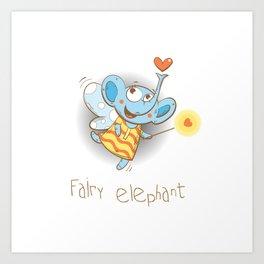 Fairy elephant. Art Print