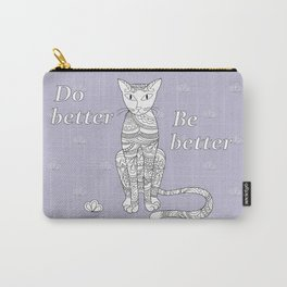 zen cat with flower Carry-All Pouch