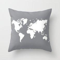 gray map Throw Pillow