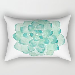 Watercolor Succulent print in seafoam green Rectangular Pillow