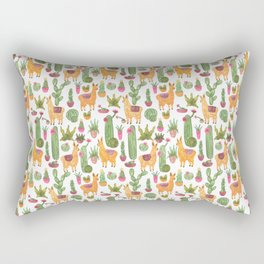 watercolor alpaca clicque with cacti and succulents Rectangular Pillow