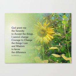 Serenity Prayer Sunflower Canvas Print