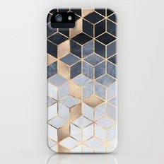 Soft Blue Gradient Cubes Slim Case iPhone SE