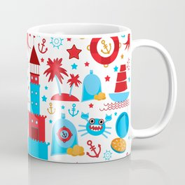 pattern with sea icons on white background. Seamless pattern. Red and blue Coffee Mug