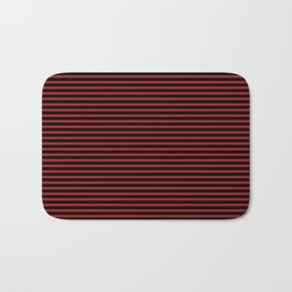 Black and Red Thin Stripes Bath Mat