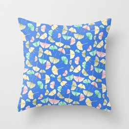Gingko Leaves on Cobalt Throw Pillow