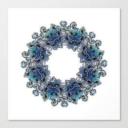 Indigo Bloom Portuguese Tiles – Gaia Canvas Print