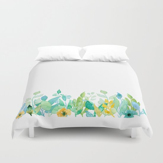 flowers in a meadow - Floral watercolor illustration on white backround Duvet Cover
